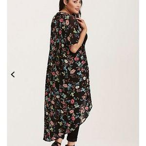 Torrid Floral Mesh Maxi Kimono